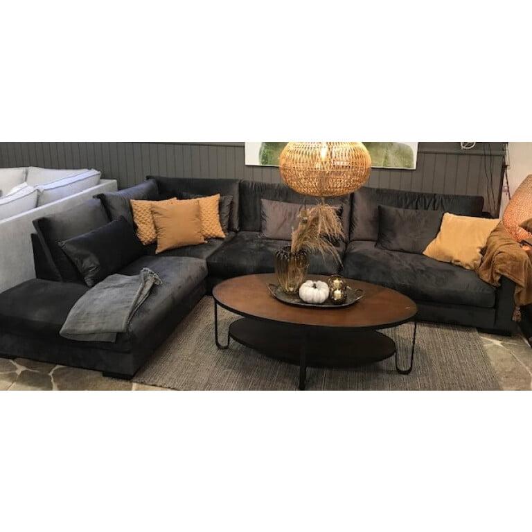 Lyxig och skön L-soffa i sammet